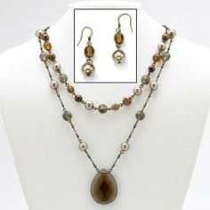 PalmBeach Jewelry Antiqued 14k Gold-Plated Brown Glass Necklace and Pierced Earring Set Palm Beach Jewelry. $24.50