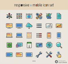 Freebie: Responsive And Mobile Icon Set (100 Icons, PNG, PSD)