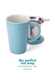 SPRING 2015 - This pretty light blue mug comes in an elegant textured finish. Davids Tea, Pretty Lights, Mug Shots, Tea Mugs, Spring 2015, Drinkware, Tea Time, Light Blue, Coffee