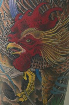 Rooster tattoo by Bill Canales - Full Circle Tattoo - San Diego, CA. #fullcircletattoo