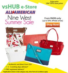 Additional 5% off usual price for Nine West Products on our e-Store. Promotion valid till 30 Jun.