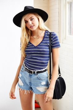 UO Stripe Sheer V-Neck Tee - Urban Outfitters