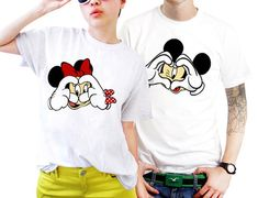 Love Hand Mickey And Minnie Mouse Couples Matching Shirts, Couples T Shirts, Funny Couple Shirts