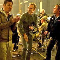Michael Fassbender as     David 8 on Prometheus set