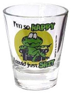 $2.99 Funny Shot Glasses, Glass Collection, I Am Happy, Shots, Display, Gift Ideas, Tableware, Im Happy, Floor Space