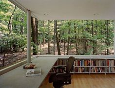 The perfect indoor / outdoor reading space for nature-loving bookworms. The modern built-in bookshelves complement the green view!