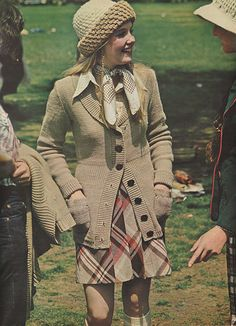 'Legging it with a skirt, Ann Gillespie, junior, wears out cover mix.' (1973) #Seventeen