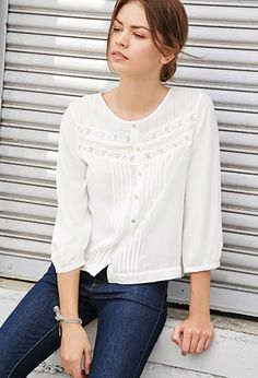 1900- 1920s style FOREVER 21 Crocheted Pintuck Top Cream Large $24.90 AT vintagedancer.com