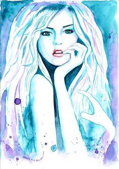 Original Watercolor Fashion Illustration Modern Art Painting tittled Azure Shining