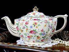James Sadler Chintz Teapot - Shabby Wildflowers Transferware 12764