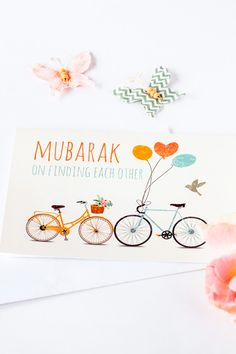 """""""Mubarak on Finding each other"""" greeting card for Muslim couples"""