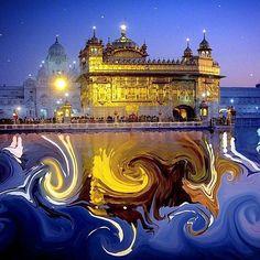 A beautifully edited photo of Sri Harmandir. Guru Nanak Photo, Guru Nanak Ji, Harmandir Sahib, Shri Guru Granth Sahib, Guru Gobind Singh, True Homes, Golden Temple, Incredible India, Old Houses