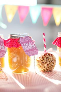 apple butter and candy apple favors - exactly what I had in mind! minus the color scheme/decor Carnival Food, Carnival Wedding, Carnival Themes, Vintage Carnival, Carnival Birthday, Fall Carnival, Wedding Themes, Wedding Events, Wedding Ideas