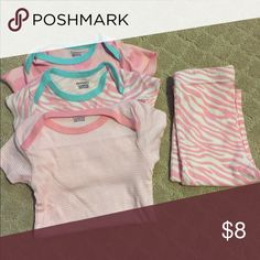 Lot of 3 pink Gerber onesies and 1 pants - 3-6 mo Three baby girl onesies and one pair of pants in pink. Size 3-6 months. Smoke free, pet free home. Gerber One Pieces