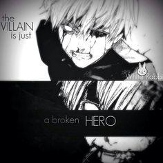 Tokyo Ghoul: Evil is just a broken hero. - Tokyo Ghoul: Evil is just a broken hero. Sad Anime Quotes, Manga Quotes, Tokyo Ghoul Quotes, Film Anime, Dark Quotes, Depression Quotes, Badass Quotes, Dark Anime, The Villain