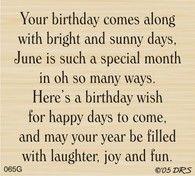 June Birthday Greeting - 065G