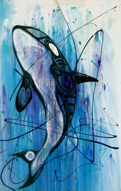 Such a cool orca painting Arte Orca, Orca Art, Graffiti, Art And Illustration, Orca Kunst, Orca Tattoo, Orcas, Whale Art, Wale