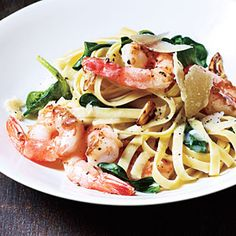 Shrimp Fettuccine with Spinach and Parmesan | MyRecipes.com #myplate #protein #grain