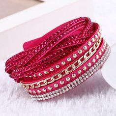 Hot Selling 10 Color Vintage Chain leather bracelet &bracelets for women Trendy Women Jewelry pulseras