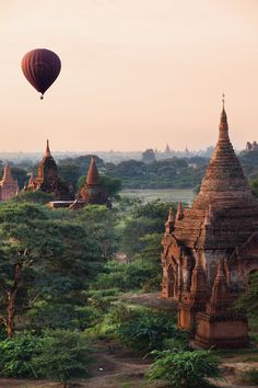 Bagan, Myanmar  This ancient city in central Myanmar is made up of thousands (yes, thousands) of Buddhist temples and pagodas. One of the prettiest views is from above — we recommend going for a hot air balloon ride at sunrise.