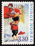Norway, Two Elfs Mailing Letters stamp, 1992