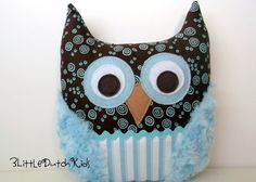 Blue and Brown Owl Pillow. I love the furry wings.