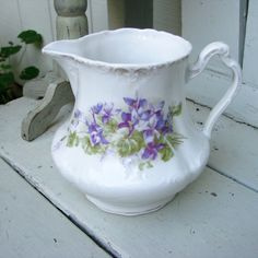 Antique Ironstone Pitcher with Violets by AppleberryCottage, $15.00
