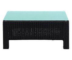 Pouf tavolino in tecnorattan Elba - 76x32x76 cm