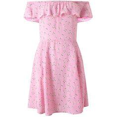 Miss Selfridge Pink Floral Bardot Skater Dress (92 BRL) ❤ liked on Polyvore featuring dresses, pink, pink floral dress, floral dresses, skater dresses, flower printed dress and floral printed dress