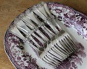 1847 Rogers Bros Art Nouveau Dessert Forks. For more #vintage + #antique flatware, check out tippleandsnack.etsy.com