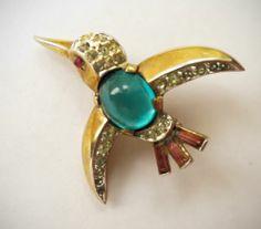 1949 Alfred Philippe Trifari Jelly Belly Kingfisher Pin | eBay