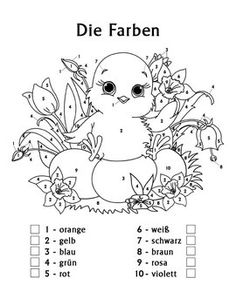 Reinforce German color names with beginning German students using this adorable color by number worksheet. Designed for children in 1st Grade, 2nd Grade and 3rd Grade, this Easter-themed coloring worksheet associates ten German colors with numbers, and instructs children to follow the color pattern to create a colorful image of an Easter chick, flowers and colored eggs.