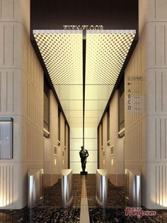 great textural light tray that could wrap around the tunnel into the elevator lobby. Needs something strong to lead the eye