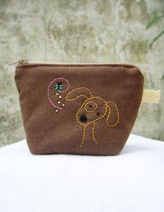 Dog purse zipper Small zipper pouch / Coin purse dog by DooDesign, $12.00