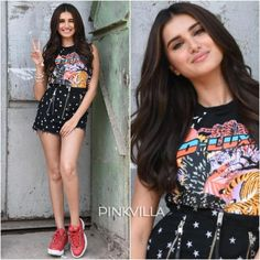 Tara Sutaria looks fabulous as she gets snapped at Student of the Year 2 promotions today. Tara Sutaria or Ananya Panday, who is your… Bollywood Outfits, Bollywood Girls, Bollywood Fashion, Beautiful Bollywood Actress, Most Beautiful Indian Actress, Beautiful Actresses, Frock Fashion, Girl Fashion, Fashion Outfits