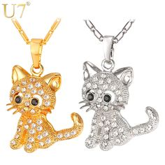 Cute Cat Pendants & Chain Gold/Rhodium Plated Rhinestone Crystal   Tag a friend who would love this!   FREE Shipping Worldwide   Get it here ---> https://dailysale.store/cute-cat-pendants-chain-goldrhodium-plated-rhinestone-crystal/