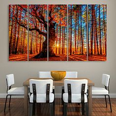 E-HOME® Stretched Canvas Art Red Wood  Decorative Painting  Set of 5 – USD $ 104.99