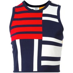 Tommy Hilfiger cropped patchwork tank (£76) ❤ liked on Polyvore featuring tops, tank tops, crop top, blue, rayon tops, blue tank, colorful crop tops, crop tank and cut-out crop tops