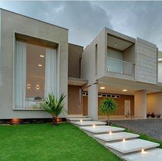 Modern Architecture - love the huge window and full length curtains! Dream Home Design, Modern House Design, Modern House Exteriors, Beton Design, House Elevation, Elevation Plan, Dream House Exterior, Villa Design, House Entrance