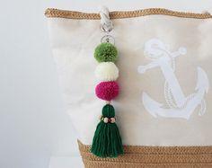 Tassel Bag Charm, Boho Keychain, Pom Pom Keychain, Handbag Charm, Pom Pom Bag Charm, Tassel Keychain, Pompom Keychain, Green Bag Accessories