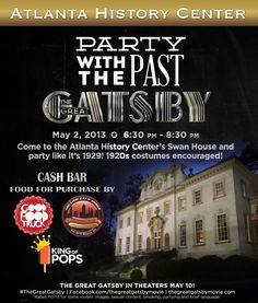 Great Gatsby themed Party With the Past event at Atlanta's Swan House. 1920s costumes encouraged! Prize pack for best costume! #atlanta #thegreatgatsby