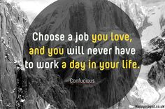 Choose a job you love & you'll never have to work a day in your life. ~Confucious
