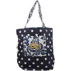 Georgia Tech Yellow Jackets Womens Polka Dot Small Canvas Tote Bag - Navy Blue #GaTech
