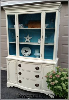 Coastal Vintage Hutch Makeover and My Philosophy on My Passion - Embracing Change Chalk Paint Furniture, My Furniture, Furniture Making, Furniture Makeover, Vintage Furniture, Furniture Refinishing, Upcycled Furniture, Furniture Projects, Vintage Hutch