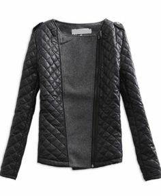 Black Grey Long Sleeve Quilted Asymmetric Zip Jacket $34