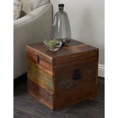 Add additional storage and beauty to any space with the Kosas Home Bali Small Recycled Wood Box. This recycled storage trunk, with natural wood finish, brings rustic flair to any style or home décor.