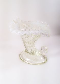 Fenton Hobnail Opalescent Moonstone Glass Cornucopia Candle Holder by VintageVybe on Etsy