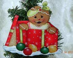 "HP "" GINGERBREAD SURPRISE "" Handpainted Christmas Ornament"