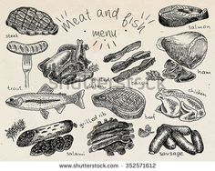 Meat and fish menu, steak, trout, salami, ribs, grilled ribs, grilled chicken, sausage, chiken, beef, bacon, ham, salmon, salmon steak, herbs