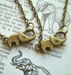 Tiny Elephant Necklace Silver Tone Metal Fashion by CosmicFirefly